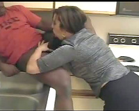 Brunette Milf Interracial Screwed By Black Dude While Partner Films