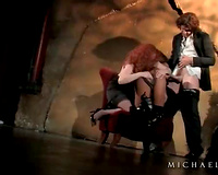 Redhead and dark hotwife engulf and fuck his dong