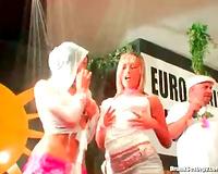 Slut at a dance party gives BBC a oral-sex