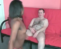 Young dark housewife blows bushy mature stud