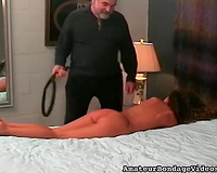 Tied up brunette hair playgirl receives whipped by her perverted mature taskmaster