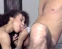 Stunning black head babe with large boobs is facesitting thirsty guy