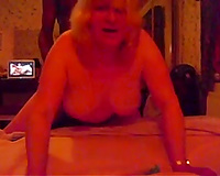 Blonde mama enjoys interracial from behind sex with me