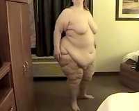White SSBBW non-professional slutty wife is topless and desires to receive totally bare