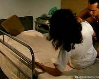 Provocative brunette hair nurse receives group-fucked hard by her patient
