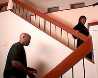 Black harlot jumps on a BBC after sucking it with devotion