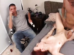 Ivory-skinned redhead beauty acquires drilled hard in a cuckold scene