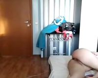 Webcam clip with a dark brown playgirl engulfing her lover's cock