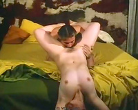 Retro scene with girls licking twats, engulfing cocks and getting screwed