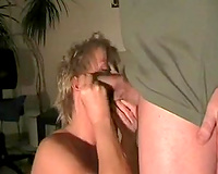 Short-haired golden-haired mommy feels pleased to engulf my pecker