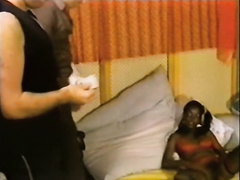 Young and hawt African playgirl receives gangbanged by 2 white cocks in 3some