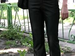 Amateur random Russian dark brown spied outside in public