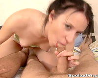 Slim white honey loved to engulf and and jerk 2 big cocks