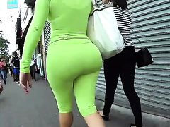 Hot non-professional blonde slutty wife with delightful wazoo in taut emerald pants