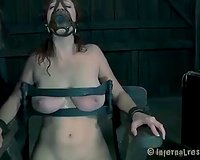 Bounded cheating wife with a gag in her throat tortured by her taskmaster