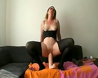 Thick and stacked white aged slutwife in hawt nylon outfit rides a biggest sex toy