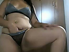 Webcam episode with Spanish beauty stroking her curvy body