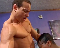 Ugly ebon whore receives screwed from behind after giving a oral-service