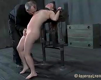Small titted dark brown bitch is abused by a excited dom