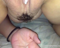 Swollen wet crack filled with cock juice after an amazing sex session