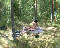 Floozy brunette chick got screwed at the picnic by her BF