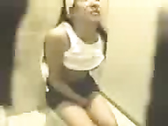 Sexy sweetheart with sweet body caught peeing in public latrine