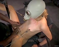 Ugly bounded hottie with mask on her face nailed with bbc of her dominant