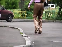 Cute sweetheart in Russia is spied when this babe craves to pee