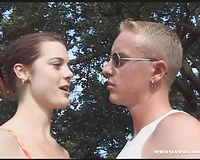 Lewd non-professional legal age teenager playgirl gives head to a stud in a forest