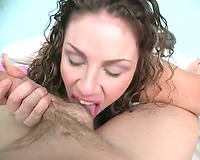 Curly-haired honey acquires her cookie fucked after working on a pecker