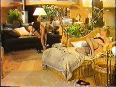 Retro sex movie with 2 lesbo couples caressing every other