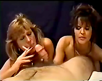 My BBC slut and her BFF sharing my weenie and smoking cigarette
