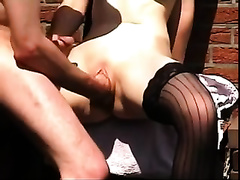 My horny amateur wife wearing nylons allows me to fist her muff to orgasm