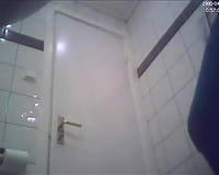 Beautiful non-professional golden-haired legal age teenager sweetheart in the toilet on hidden livecam