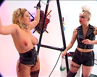 Bosomy blond milf acquires her mangos whipped and pinched