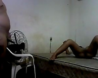 Homemade movie with an ebony pair making love in the missionary pose