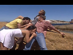 Two strumpets receive their holes destroyed in outdoor foursome scene