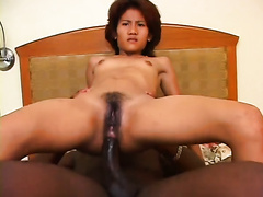 Old dumpy Asian milf acquires hardcore anal drilled by dark chap in spoon pose