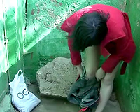 Tanya changes her clothing after pissing her jeans outdoors