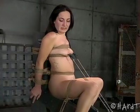 Small titted brunette hair honey with great skinny body is tortured