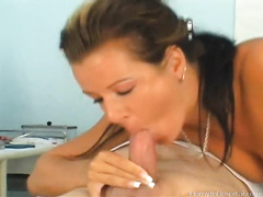 Blonde mommy Alana has vehement sex with a doctor at his work place