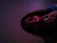Playful corpulent web camera amateur wife sucks her sex toy and flashes her zeppelins