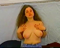 Busty brunette hair aspiring actress positions bare on the casting