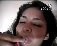 Mexican caliente is on her own in her bedroom finger bonks her fanny