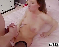 My pale skinned GF deepthroats my dong after masturbation