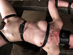 Spoiled bimbo in glasses acquires her bawdy cleft fisted during her BDSM session