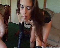 Fat lesbo receives her twat toyed by a sizzling femdom-goddess