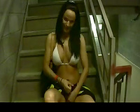 My horny dark brown fuckbuddy receives wicked on the stairs