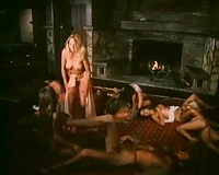 A weird guy has pleasure with a not many angels in retro servitude scene