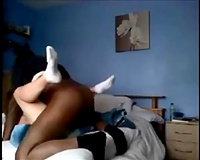 Black fellow with my white white wife makes her sweat hard in daybed